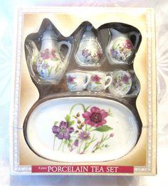 Vintage Miniature Floral Tea Set Brand New by VintageGlassEscape