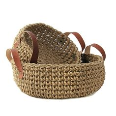 Introduce natural elements into your home with these stunning baskets. The baskets are hand crocheted using a thick bulky jute and features handcrafted leather handles with metal rivets for an indus. Crochet Home, Love Crochet, Hand Crochet, Hand Knitting, Crochet Storage, Jute Crafts, Basket Bag, Knitted Bags, Leather Handle