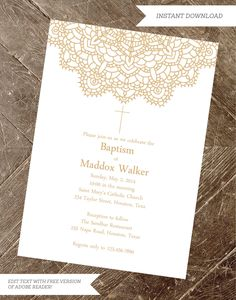 baptism invitation, christening invite, baptism invite, printable first communion, religious invitat Baptism Invitation Wording, Baptism Invitations Girl, Gold Invitations, Printable Invitations, Baby Girl Baptism, Baptism Party, Baby Christening, Baptism Ideas, Baby Boy
