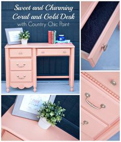 Sweet and Charming Coral and Gold Desk