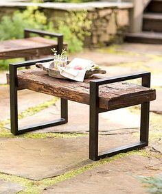 Reclaimed Wood & Iron Outdoor Bench
