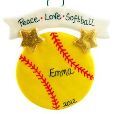 Personalized Christmas Softball Ornament Decoration Keepsake for ...