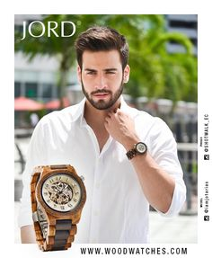 Tailor made of tailored to fit, your moves are always measured. Determined and purposeful, your time is never wasted. The synchronized style you seek can be found in our Dover Zebrawood & Cream, a striking study in complex and calculated design. JORD's line of automatic watches are made with 100% natural wood, never stained or painted, with a sapphire crystal and exhibition back. Free shipping worldwide, find your JORD today at www.woodwatches.com