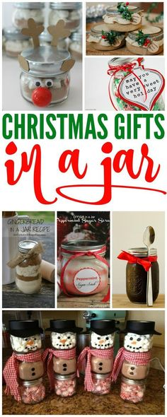 Christmas Gift in Jars! If you are looking for Cheap Christmas Gift Ideas for your friends and teachers, these gifts in jars are sure to be a hit!