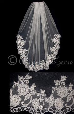 Fingertip Angel Dust Veil with Beaded Lace