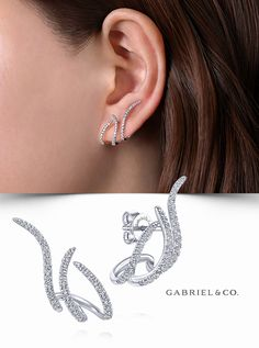 14K White Gold Fashion Earrings EG13689W45JJ #GabrielNY #DiamondJewelry #FineJewelry #GabrielAndCo #UniqueJewelry #FineJewelry#FashionJewelry#UniqueJewelry#GiftIdeas#UniqueGifts #DiamondJewelry #Jewelry #Earrings #FashionEarrings