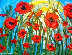 Popping Poppies 3d Impasto Knife painting in acrylic show the step by step tutorial on youtube by the Art sherpa  Acrylic painting on canvas Step by step