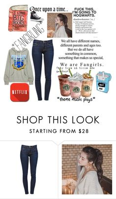 """""""Fangirling over nothing is my middle name."""" by artemishunters ❤ liked on Polyvore featuring Frame Denim, Once Upon a Time, GABALNARA, Converse, starbucks and fangirling"""