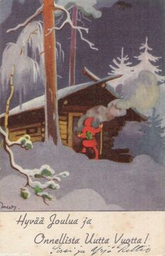 Martta Wendelin was a Finnish artist whose work was widely used to illustrate fairy tales and books, postcards, school books, magazine and book covers. Christmas Past, Merry Christmas And Happy New Year, Christmas Images, Christmas Illustration, Children's Book Illustration, Graphic Design Illustration, Vintage Christmas Cards, Vintage Cards, Vintage Postcards
