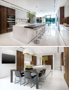 This kitchen has a wooden countertop that matches the cabinetry and provides seating for four, while at the other end of the kitchen there's a more casual dining table.