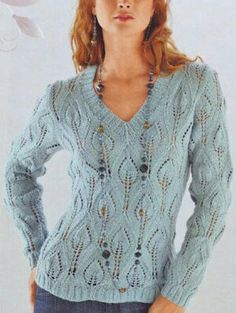 And how about knitting something? Beautiful pullover with pattern at source Lace Knitting, Knitting Stitches, Knit Crochet, Hand Knitted Sweaters, Women's Sweaters, Crochet Clothes, Knitwear, Knitting Patterns, Sweaters For Women