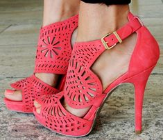 Coral cut out high heels