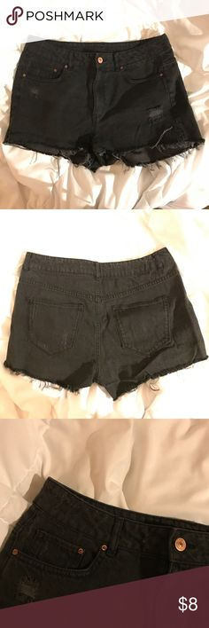 DIVIDED Distressed/Frayed Black Shorts Worn once, good condition Divided Shorts Jean Shorts
