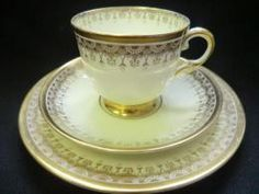 Elegant Tuscan tea trio Ivory and gold