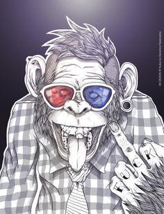 grafika Granola granola e carboidrato Art And Illustration, Dope Kunst, Street Art, Monkey Art, Design Tattoo, Dope Art, Trippy, Art Drawings, Character Design