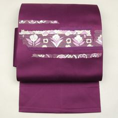 Purple, nagoya obi / 化繊素材のバイオレット地に機械刺繍を施した八寸名古屋帯    #Kimono #Japan http://global.rakuten.com/en/store/aiyama/