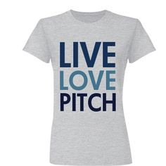 Baseball/Softball Shirt. Live Love Pitch Junior Fit Basic Bella Favorite Tee.