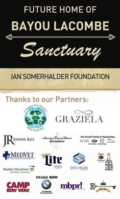 Ian Somerhalder Foundation is extremely excited to provide an update on our Bayou Lacombe Sanctuary Land.  ISF has erected a temporary sign to thank some of our most generous sponsors, including those who supported Mutts to Models, ISF's first-ever Mardi Gras Ball hosted by The Mystic Krewe of Mardi Paws in Mandeville, Louisiana. Read about and see photos from Mutts to Models! http://www.isfoundation.com/muttstomodels