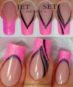 The advantage of the gel is that it allows you to enjoy your French manicure for a long time. There are four different ways to make a French manicure on gel nails. Pink Nail Art, Nail Art Diy, Easy Nail Art, Pink Nails, Gel Nails, Orchid Nails, Nail Art Stripes, Pink Art, Toenails