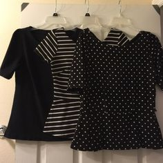 Bundle of Three Black/White Tops One black top with an exposed zipper from old navy in size small; one black and white stripe peplum top from banana republic in size 4 (though this is a large 4); one black and white polka dot peplum top with a bow detail and cut-out from White House Black Market in size medium.  They all show signs of wear (pilling, fading), so I've priced them accordingly, but they are still quite cute pieces.  Thanks for looking! Banana Republic Tops Blouses
