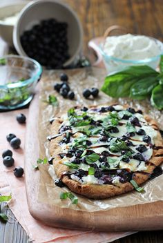 Blueberry Basil Ricotta Flatbreads - Cookie Monster Cooking