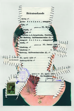 Heiratsurkunde. Personal Identity 2003-14. Self-portraits with sewn-in original documents, birth certificate, SIM cards.