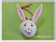 Craft Klatch: DIY Golf Ball Easter Bunny Recycling Craft - Craft Klatch