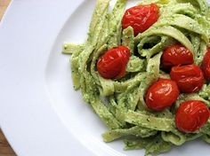 Sage and parsley make for an intensely flavored pesto that is transformed into a decadent, creamy sauce when combined with fresh ricotta and tossed with fettuccini. Juicy oven-roasted tomatoes add wonderful color and texture to the finished dish.