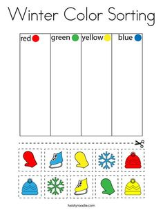Winter Color Sorting Coloring Page - Twisty Noodle Winter Activities For Kids, Toddler Learning Activities, Autism Activities, Sorting Activities, Color Activities, Preschool Winter, Kids Learning, Preschool Homework, Winter Colors