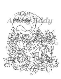 Trend French Coloring Book 52 Art of Pug Coloring