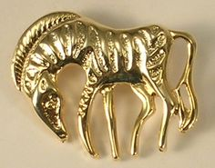 Adorable Gold Colored Metal Zebra Brooch or Pin #Unknown