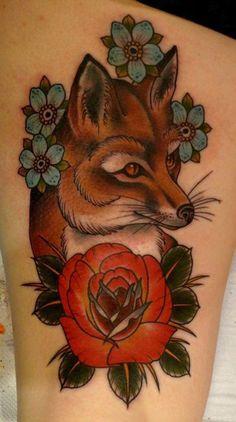 13 Flower and fox tattoo