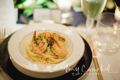 Amy Campbell Photography.  Gulf Prawns Pasta, Lemon, Garlic Oil, Parsley by Apiary Fine Catering.  All Occasions.  One Fine Day.  Kentucky Wedding.
