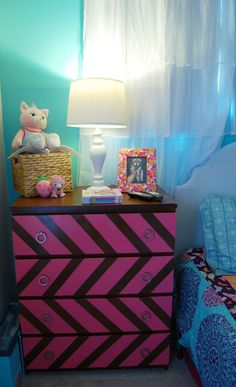 Not so keen on the chevron, but I love the idea of doing an Ikea hack for a more personalized dresser for BB!