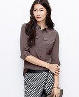 Silk Popover Shirt - Ann Taylor