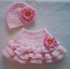 35633bf25a3 Pink Crochet Baby Flower Skirt and Hat Set (Sock Monkey Tags  pink baby  flower hat set children toddler pin handmade crochet skirt clip clothes  yarn layer ...