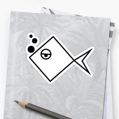 Bored fish geometrical sticker