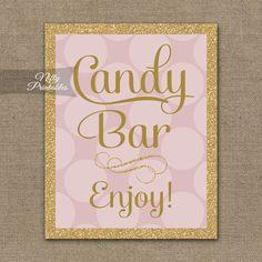 Candy Buffet Sign – Pink Gold Dots