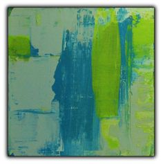 Abstract, Modern 2-piece Blue and Green Square Paintings