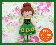 Anna in Frozen Fever. Felt Doll. PDF Pattern and Tutorial. Disney Princess. Frozen. Summer. Fairy Tale. Embroidery.
