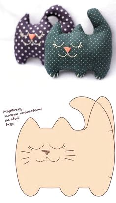 Molded Cat Filler Toy Making - Katzen Sewing Toys, Sewing Crafts, Sewing Projects, Felt Animal Patterns, Stuffed Animal Patterns, Cat Fabric, Fabric Dolls, Fabric Animals, Felt Animals