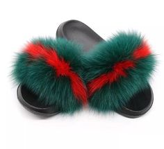adaaa8af4b0e Womens Raccoon Fur Slide Slippers Cozy House Shoes  fashion  clothing  shoes   accessories