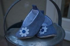 Adorable Denim Baby Ballet Shoes with a flower by BabyKickz, $19.50