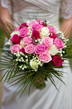 bouquet of pink, red and white Roses (Rosa sp.)