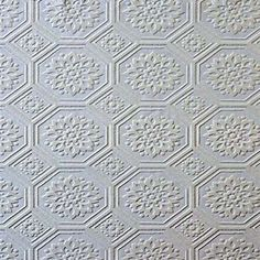 Paintable Wallpaper Textured Octagon Tiles Look Wallpaper Ceiling, Cool Wallpaper, Paintable Textured Wallpaper, Home Ceiling, Office Ceiling, Machine Quilting Designs, Pretty Designs, Interior Design Inspiration, Cozy House