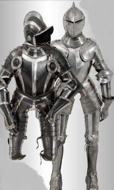 Suit  of amour, Flemish or French, circa 1580/90. And a suit of armour Nuremberg black and white , circa 1570.