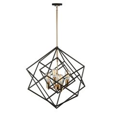 """ARTCRAFT Artistry Matte Black and Harvest Brass Tra at Lowe's. Stunning in design, this two tone multiple square chandelier from the """"Artistry"""" collection is an instant classic. The interior has a satin brass frame, Square Chandelier, Art Deco Chandelier, Art Deco Lighting, Chandelier Ceiling Lights, Brass Chandelier, Kitchen Chandelier, Foyer Lighting, House Lighting, Antique Lighting"""