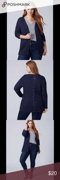 LANE BRYANT NAVY LACE-UP BACK CARDIGAN This Lane Bryant size 22/24 (3X) medieval blue (I call it muted navy) ribbed cardigan is so cozy and comfy! Open front style (no buttons) featuring an adorable lace-up back with grommet details. This could be worn with jeans & sneakers as an overpiece or even belted as office attire. You'll just love this cardi as something to wear around the house when it's chilly or to grab as you're running out the door on a blustery day! 9401 Lane Bryant Sweaters…