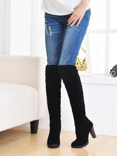 Women Knee High Boots Suede Cuffed Block Heel Riding Boots Fashion Shoes