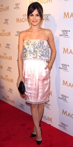Rachel Bilson hit the Tribeca Film Festival with Karl Lagerfeld to debut their film series inspired by Magnum ice cream in an embroidered silk Chanel dress, patent leather pumps and a seashell clutch.